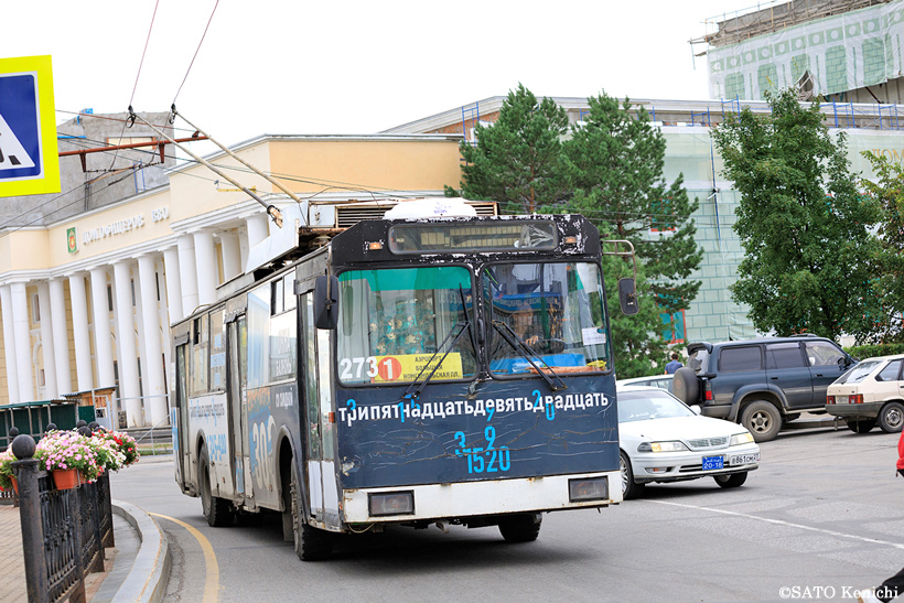 ハバロフスクのレトロなトロリーバス