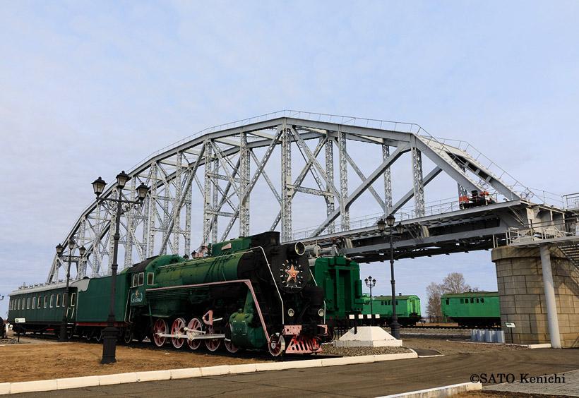 鉄橋のたもとにあるアムール川鉄橋歴史博物館