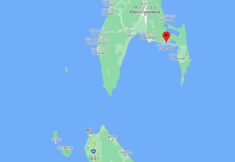 オジョールスキイ村は長浜と呼ばれていて、北海道の稚内からすぐ近くにあるのです