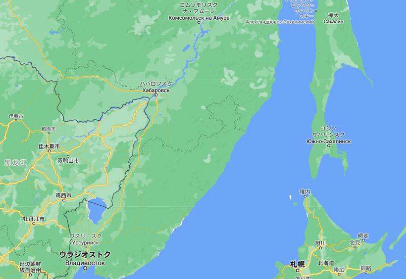 北海道の北に位置し、宗谷海峡とオホーツク海にはさまれたサハリン