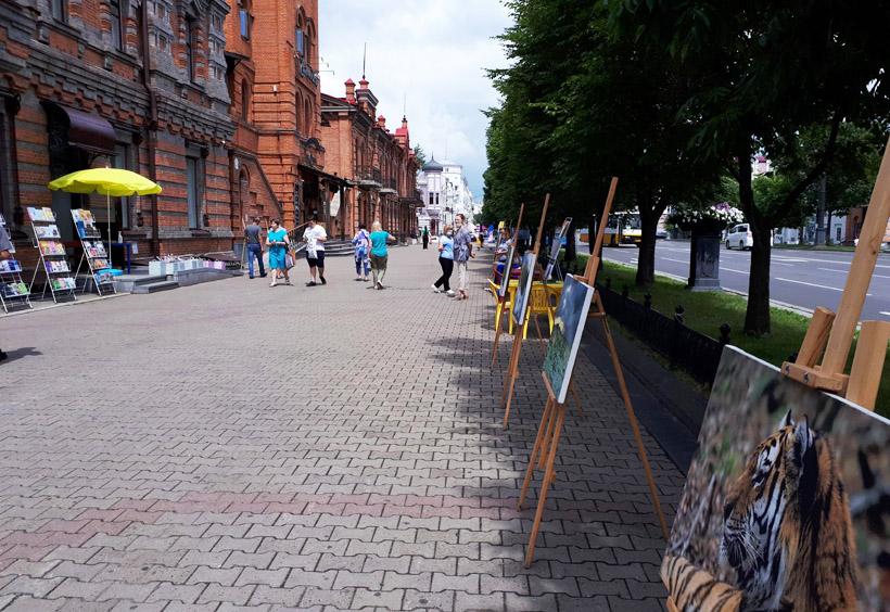 反対に川に対して垂直に延びているハバロフスクのメインストリートであるムラヴィヨフ・アムールスキー通り