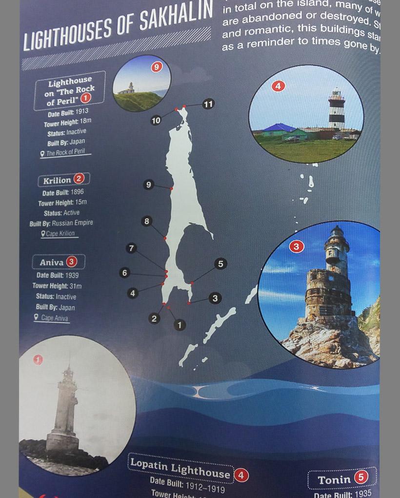 サハリンには主なもので11の灯台があるようです