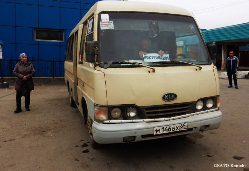 ユジノサハリンスクからホルムスクへ運行するミニバス